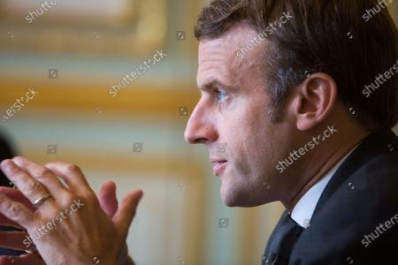 French President Emmanuel Macron Speaks German Chancellor Editorial Stock Photo Stock Image Shutterstock