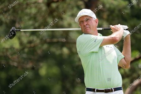 Davis Love III hits a drive on the second hole during the second round of the Workday Charity Open golf tournament, in Dublin, Ohio