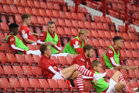 Barnsley's Cauley Woodrow is substituted and sits in the stand.
