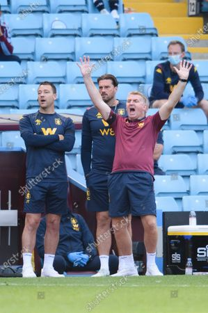 Dean Smith manager of Aston Villa reacts.