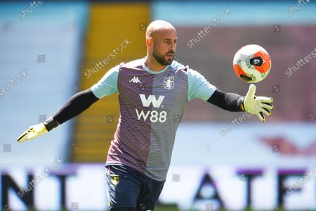 Pepe Reina of Aston Villa warms up.
