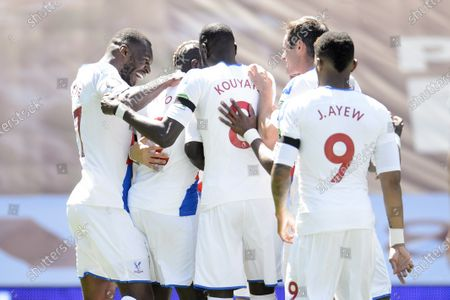 Christian Benteke of Crystal Palace celebrates a goal with team mates that was later disalowed.