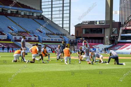 Aston Villa warm up.