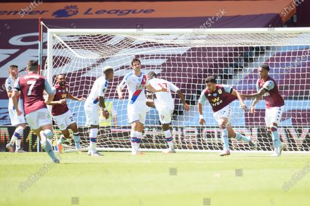 Trezeguet of Aston Villa celebrates his goal.