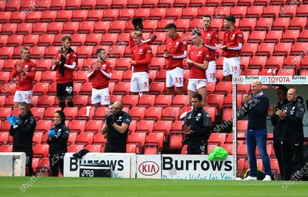 Barnsley manager Gerhard Struber applauds ahead of the game