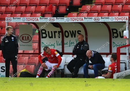 Barnsley manager Gerhard Struber looks dejected at the end of the game