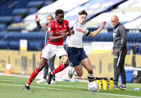 Sammy Ameobi of Nottingham Forest and Jordan Storey of Preston North End