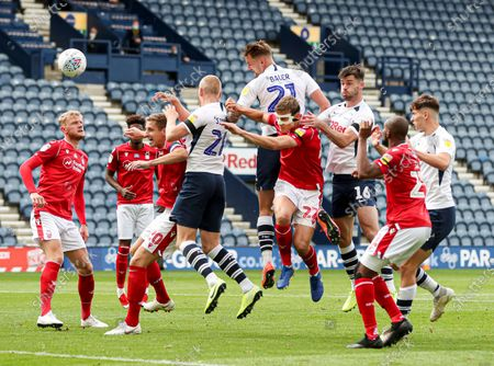Patrick Bauer of Preston North End has his header saved on the line