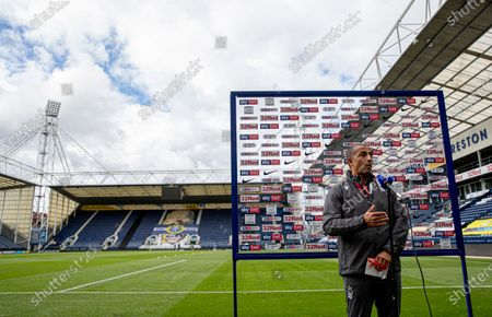 Nottingham Forest manager Sabri Lamouchi is interviewed at the end of the match