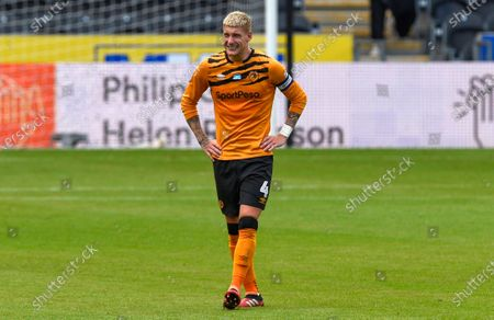 Jordy de Wijs of Hull City looks dejected at the end of the game