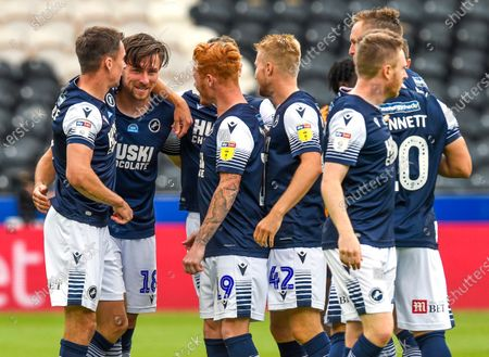 Ryan Leonard of Millwall celebrates scoring the only goal of the game 0-1