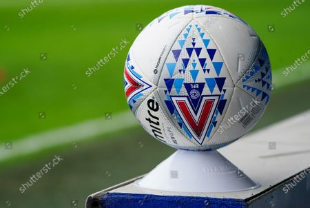 Detail of the Mitre match ball on a cone