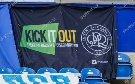 A QPR Kick It Out flag on display in support of their campaign against racism and discrimination