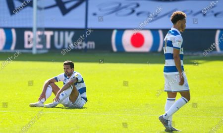 Disappointment for Yoann Barbet of QPR & Luke Amos of QPR  after another defeat