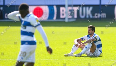Disappointment for Yoann Barbet of QPR & Bright Osayi-Samuel of QPR   after another defeat