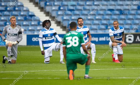 Players take a  knee  - QPR Goalkeeper Joe Lumley, Eberechi Eze of QPR , Yoann Barbet of QPR & Geoff Cameron of QPR