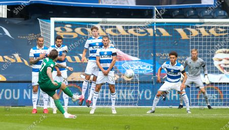 QPR wall defend a freekick by Josh Windass of Sheffield Wednesday