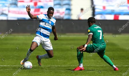 Olamide Shodipo of QPR  takes on Kadeem Harris of Sheffield Wednesday