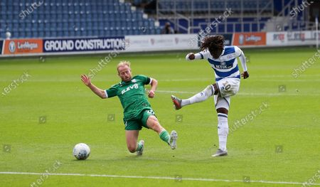 Eberechi Eze of QPR  shoots from the edge of the box as Barry Bannan of Sheffield Wednesday tries to block