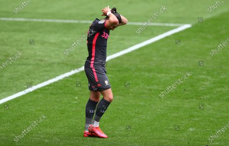Jack Harrison of Leeds United shows a look of dejection after a missed chance