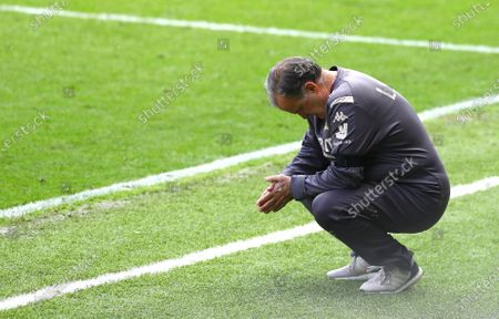 Marcelo Bielsa Manager of Leeds United looks on nervously from the touchline