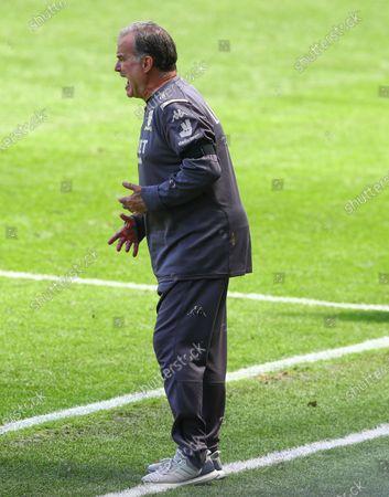 Marcelo Bielsa Manager of Leeds United gestures on the touchline