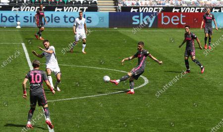Mateusz Klich of Leeds United has a shot on goal - Sky Bet LEDs