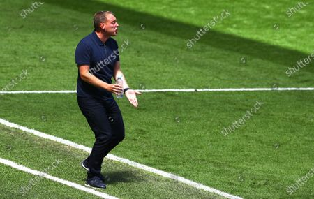 Steve Cooper manager of Swansea City gestures on the touchline