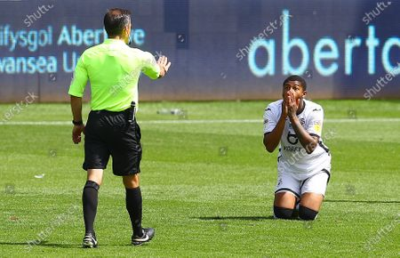 Rhian Brewster of Swansea City reacts to a refereeing decision