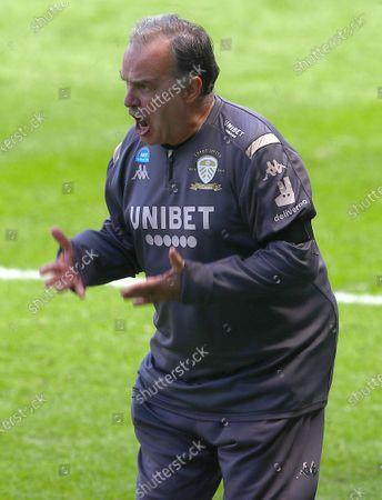 Marcelo Bielsa Manager of Leeds United shows a look of frustration