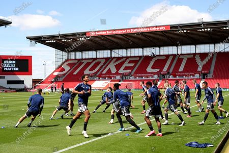 Birmingham City players during the pre-match warm-up