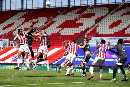 Jude Bellingham of Birmingham City heads at goal
