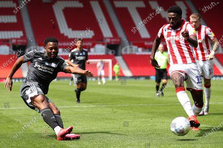 Jeremie Bela of Birmingham City and Bruno Martins Indi of Stoke City