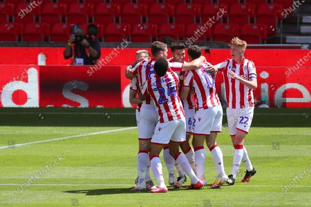 Danny Batth of Stoke City celebrates scoring his sides first goal to make the score 1-0