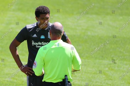 Jude Bellingham of Birmingham City speaks with the referee