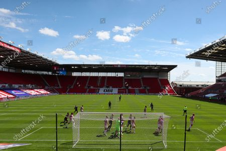 A general view of play with SKY BET LED advertising boards displayed pitch side