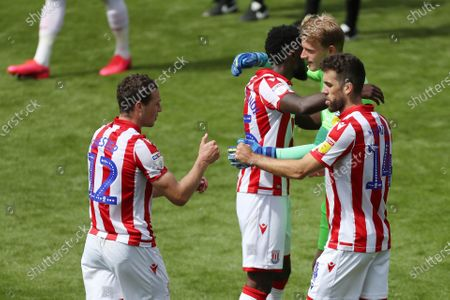 Stoke City players celebrate after the final whistle