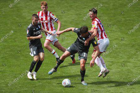 Lukas Jutkiewicz of Birmingham City and Jordan Thompson of Stoke City