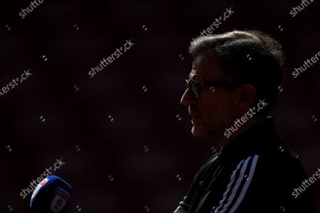 Birmingham City Coach Steve Spooner speaks to the media after the match