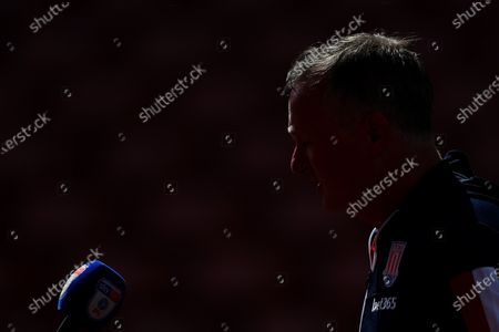 Stoke City manager Michael O'Neill speaks to the media after the match