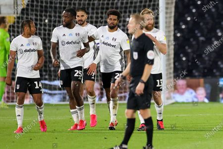 Goal! Fulham midfielder Joshua Onomah (25) scores a goal and celebrates 2-0  during the EFL Sky Bet Championship match between Fulham and Cardiff City at Craven Cottage, London