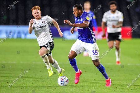 Cardiff City forward Nathaniel Mendez-Laing (19) runs towards the goal during the EFL Sky Bet Championship match between Fulham and Cardiff City at Craven Cottage, London