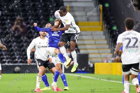 Fulham midfielder Neeskens Kebano (7) heads the ball during the EFL Sky Bet Championship match between Fulham and Cardiff City at Craven Cottage, London