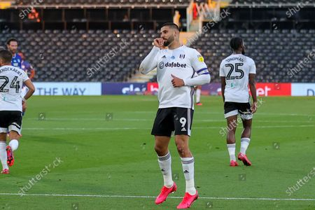 Goal! Fulham forward Aleksandar Mitrovic (9) scores a goal and celebrates 1-0* during the EFL Sky Bet Championship match between Fulham and Cardiff City at Craven Cottage, London