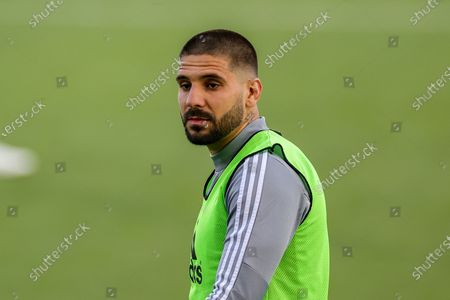 Fulham forward Aleksandar Mitrovic (9) warms up during the EFL Sky Bet Championship match between Fulham and Cardiff City at Craven Cottage, London