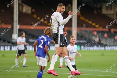 Goal! Fulham forward Aleksandar Mitrovic (9) scores a goal and celebrates 1-0 during the EFL Sky Bet Championship match between Fulham and Cardiff City at Craven Cottage, London