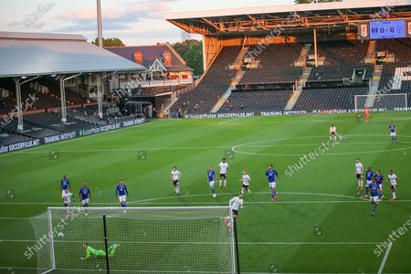 Goal! Fulham forward Aleksandar Mitrovic (9) scores from the penalty spot 1-0 during the EFL Sky Bet Championship match between Fulham and Cardiff City at Craven Cottage, London
