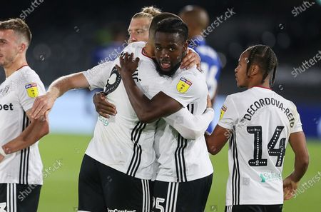 Joshua Onomah of Fulham celebrates with team mates after scoring a goal in the second half.