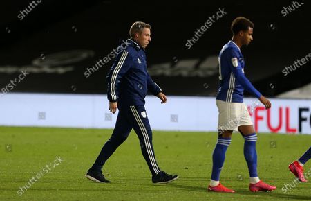 Cardiff City Manager Neil Harris and Josh Murphy of Cardiff City at full time.