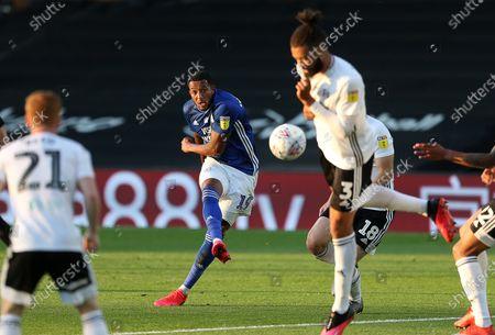 Nathaniel Mendez-Laing of Cardiff City takes a shot at goal.